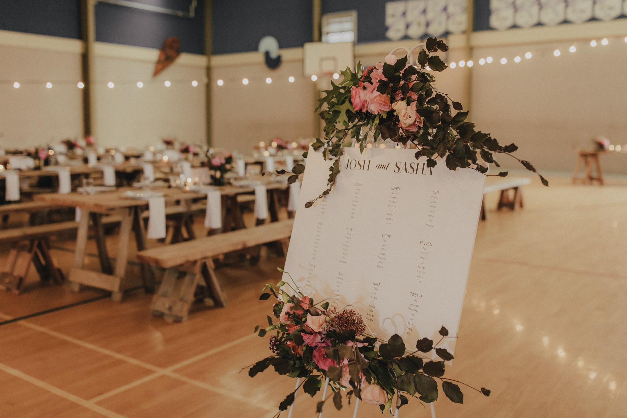 On My Hand Florist - Real wedding portfolio - Sasha and Josh - wedding reception seating chart flower decoration