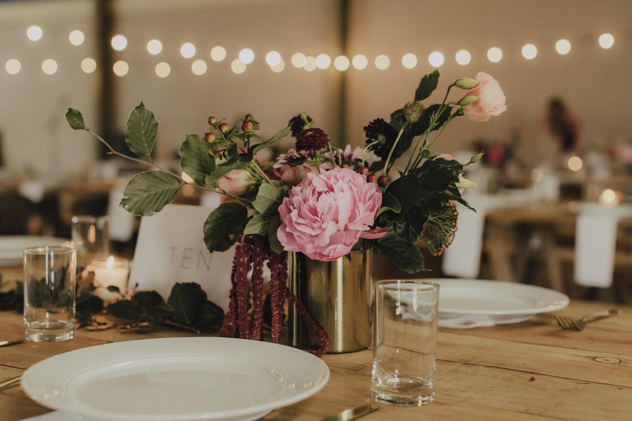 On My Hand Florist - Real wedding portfolio - Sasha and Josh - wedding reception table flowers