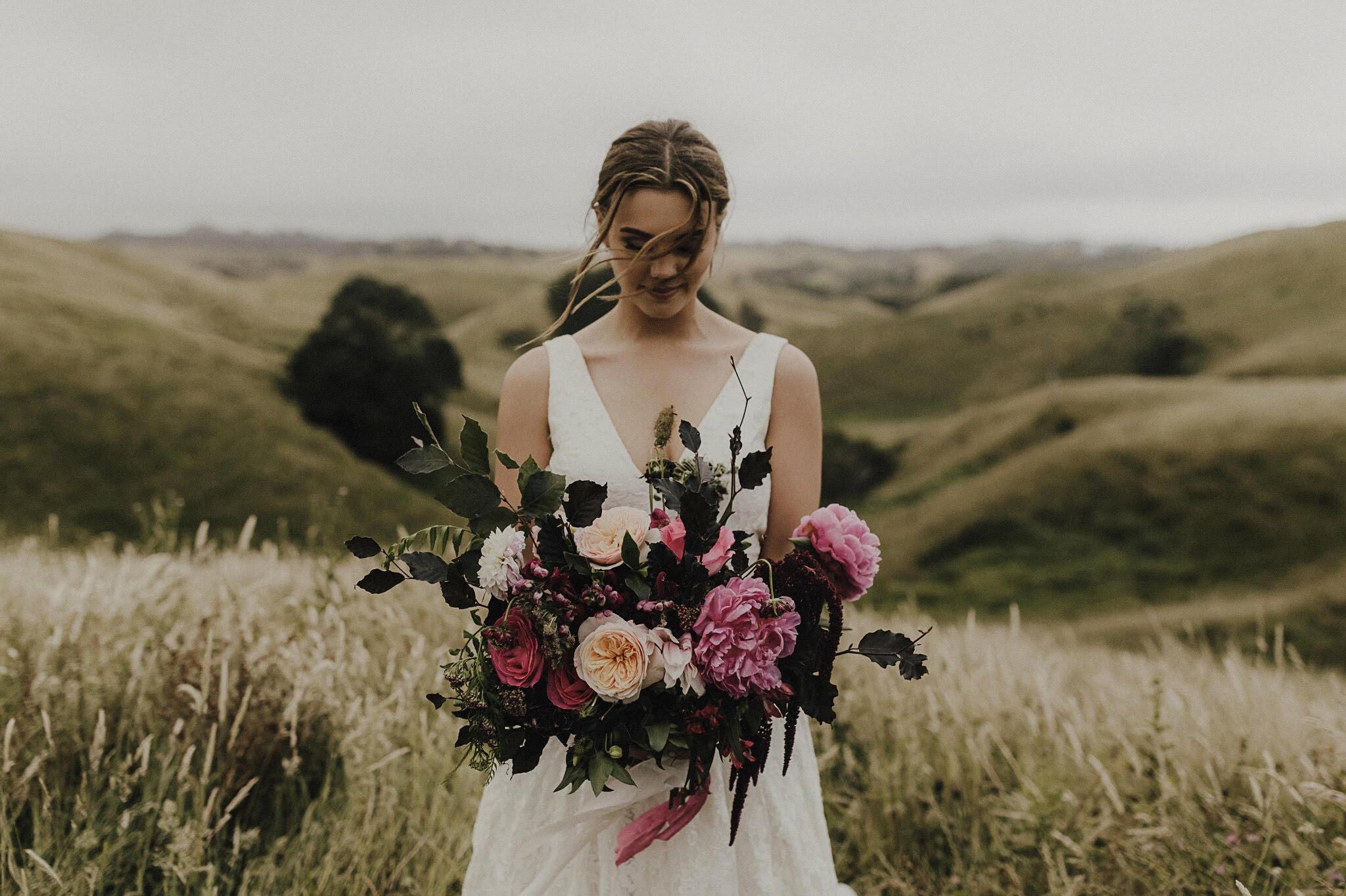 On My Hand Florist - Real wedding portfolio - Sasha and Josh - bride with large bouquet