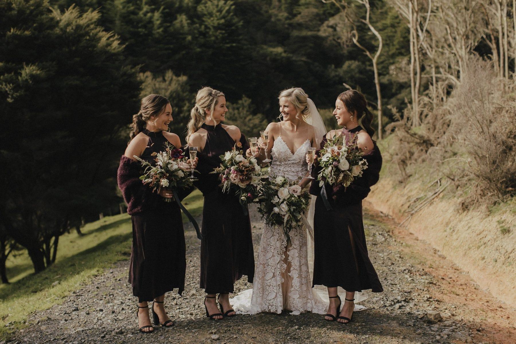 On My Hand Wedding flowers for real wedding - Gert and Trent in Kauri Bay Boomrock - bride and bridesmaids with bouquets