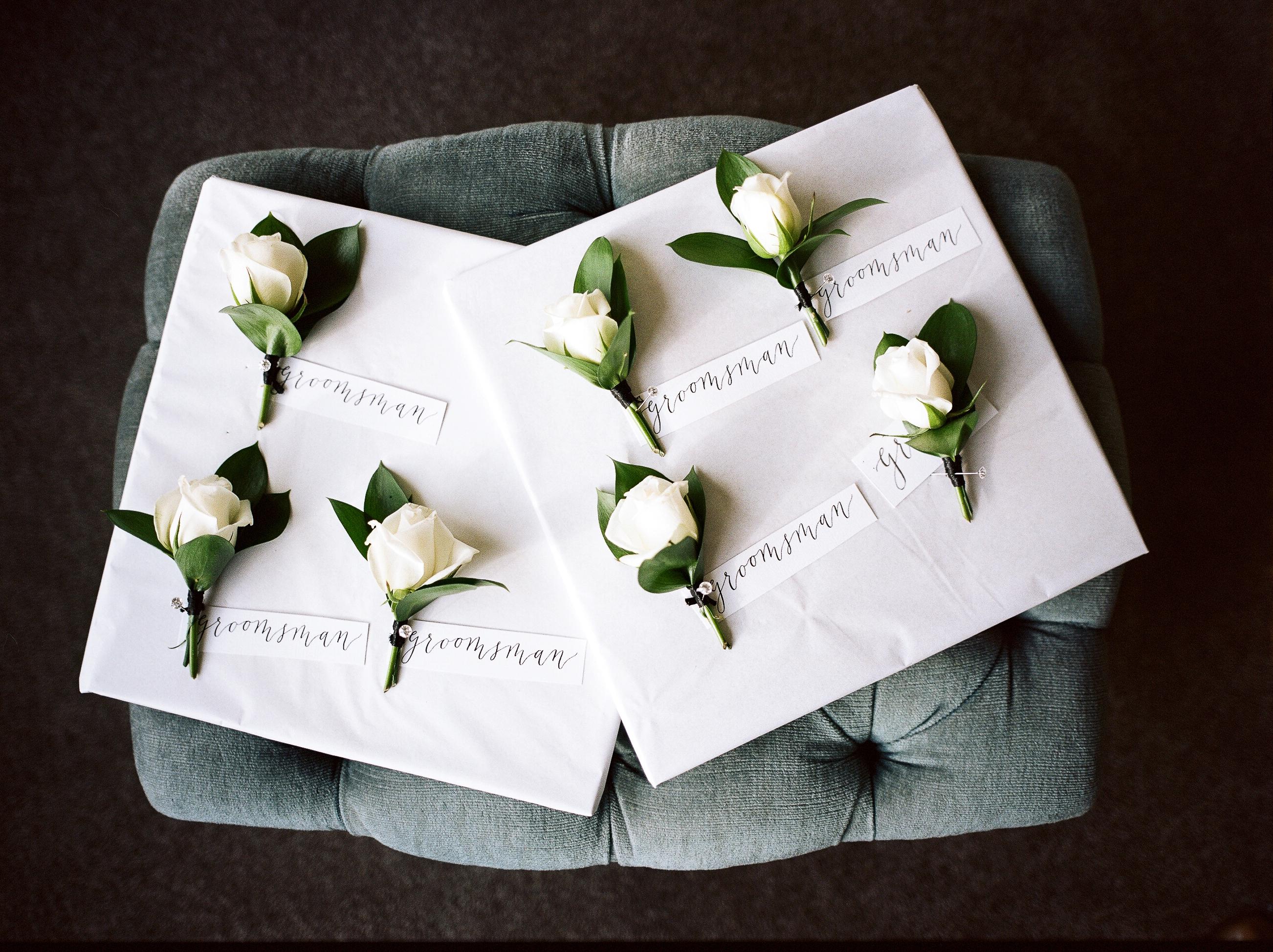 On My Hand Florist - Real wedding portfolio - Katie and Dan buttonholes by Jonny Scott Photography