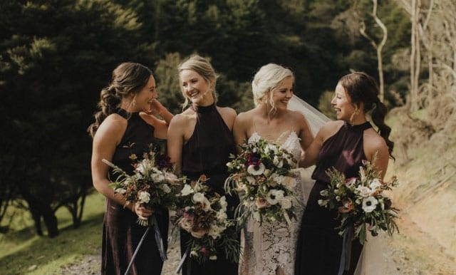On My Hand - Moody Romantics - Bridal party with bouquets