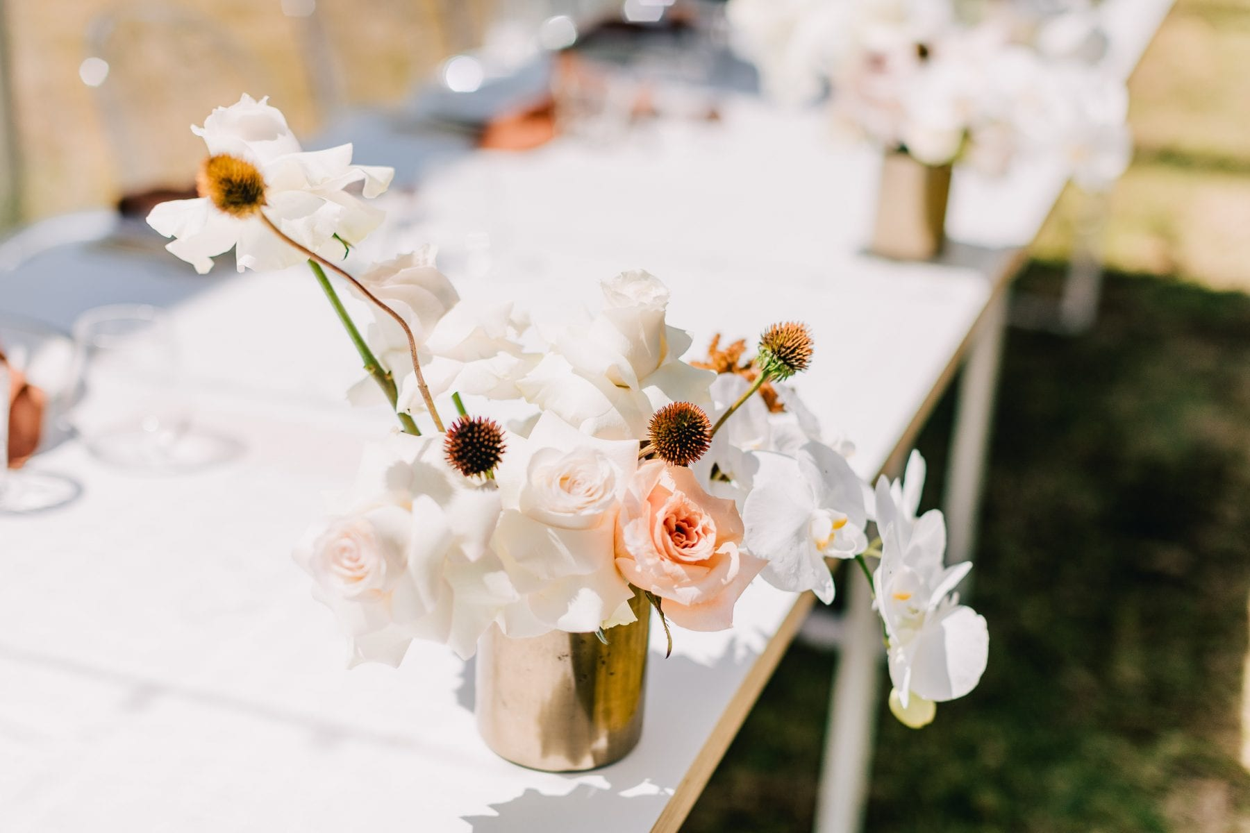On My Hand Tauranga wedding florist - fresh and dried meets modern - table arrangements