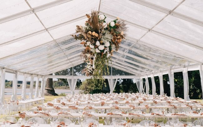 On My Hand Tauranga wedding florist - fresh and dried meets modern - hanging arrangements in marquee