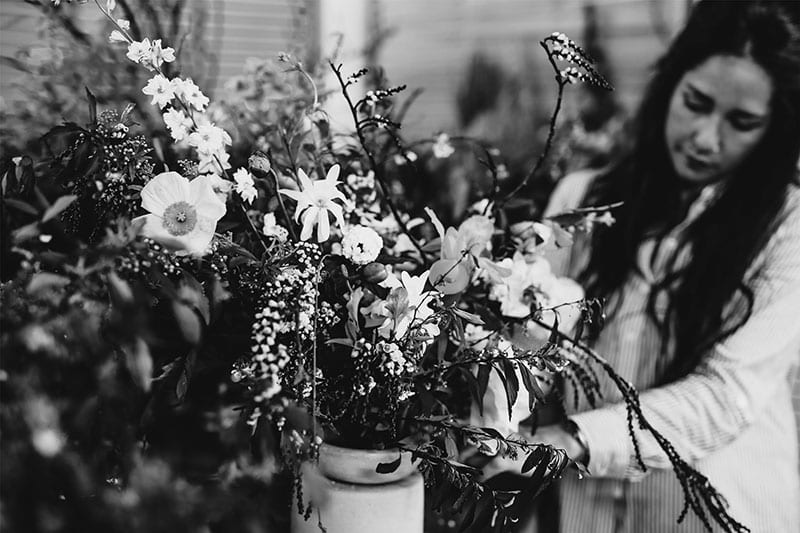 On My Hand Floral arranging and styling public workshops in Tauranga - Shaye arranging flowers