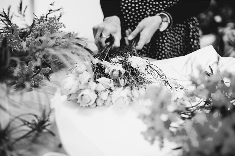 On My Hand Floral arranging and styling public workshops in Tauranga - hands arranging flowers