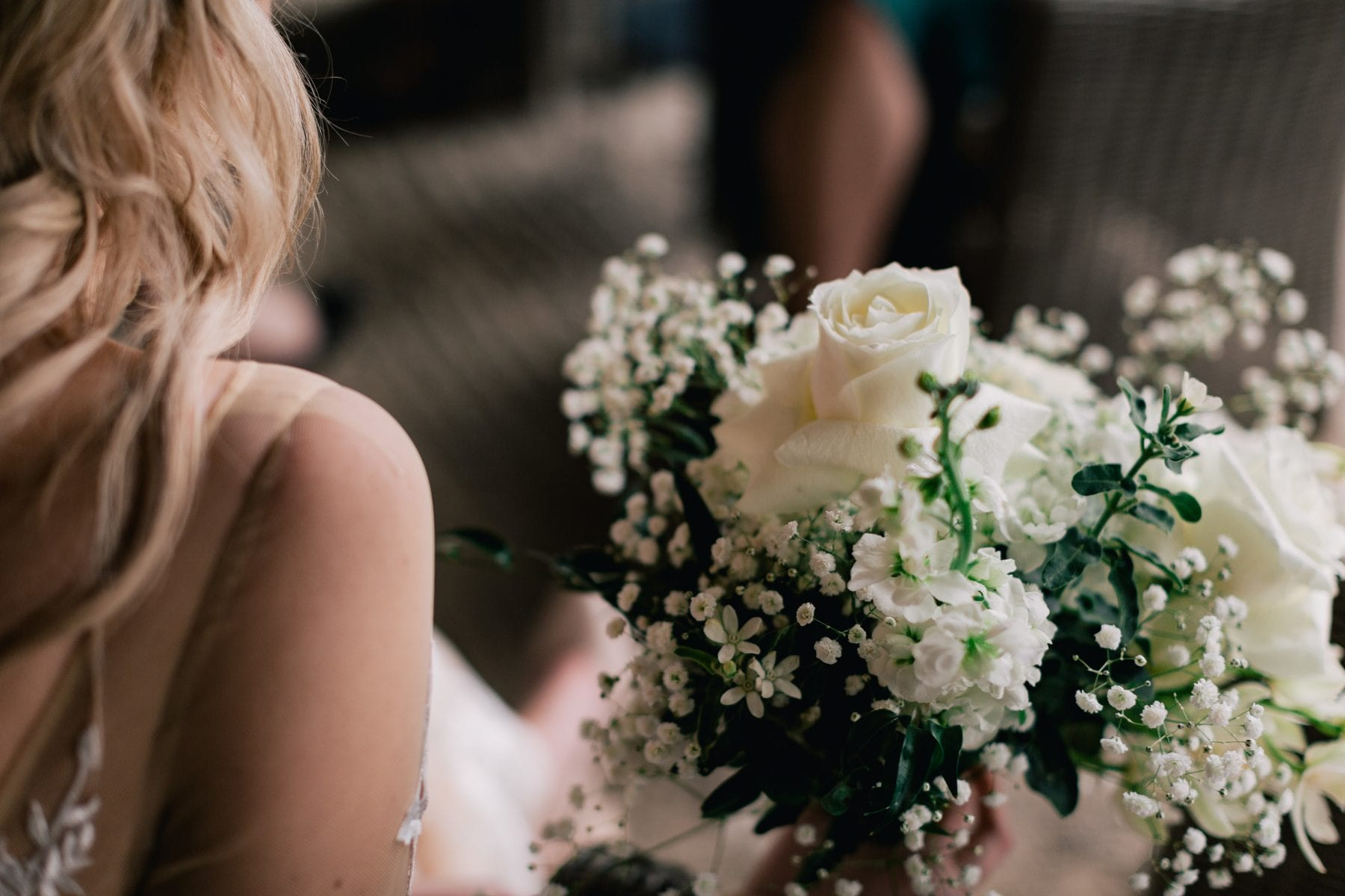 On My Hand Florist - Reuben and Hannah wedding - close up of beautiful bridal white bouquet
