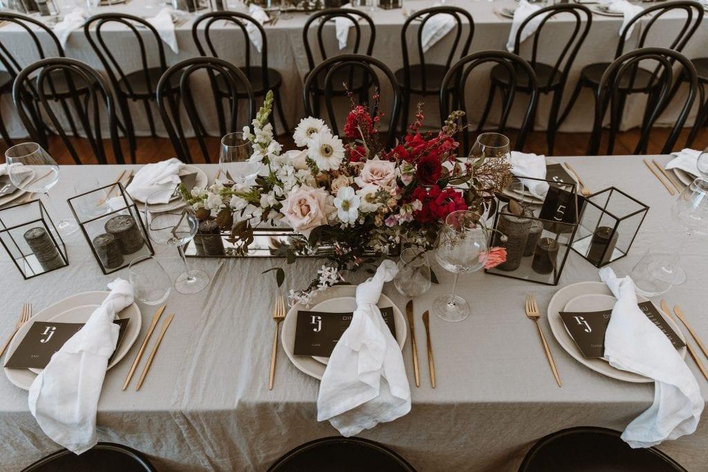 On My Hand Florist - real wedding portfolio - Rachel and Jonny wedding - reception table flower arrangement