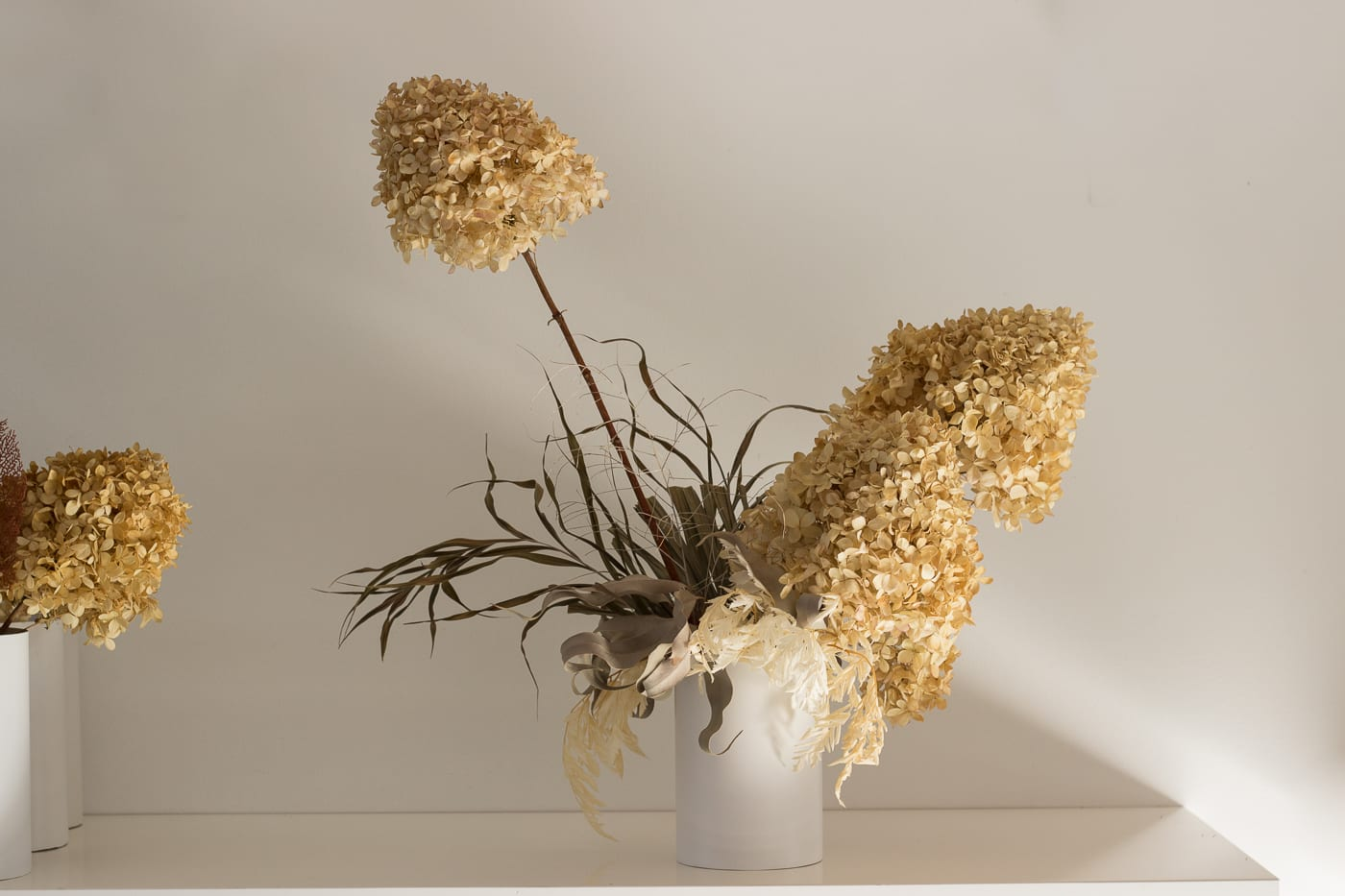 Beautiful natural colour medium arrangement in vase from On My Hand Florals and Styling, Tauranga, Bay of Plenty.