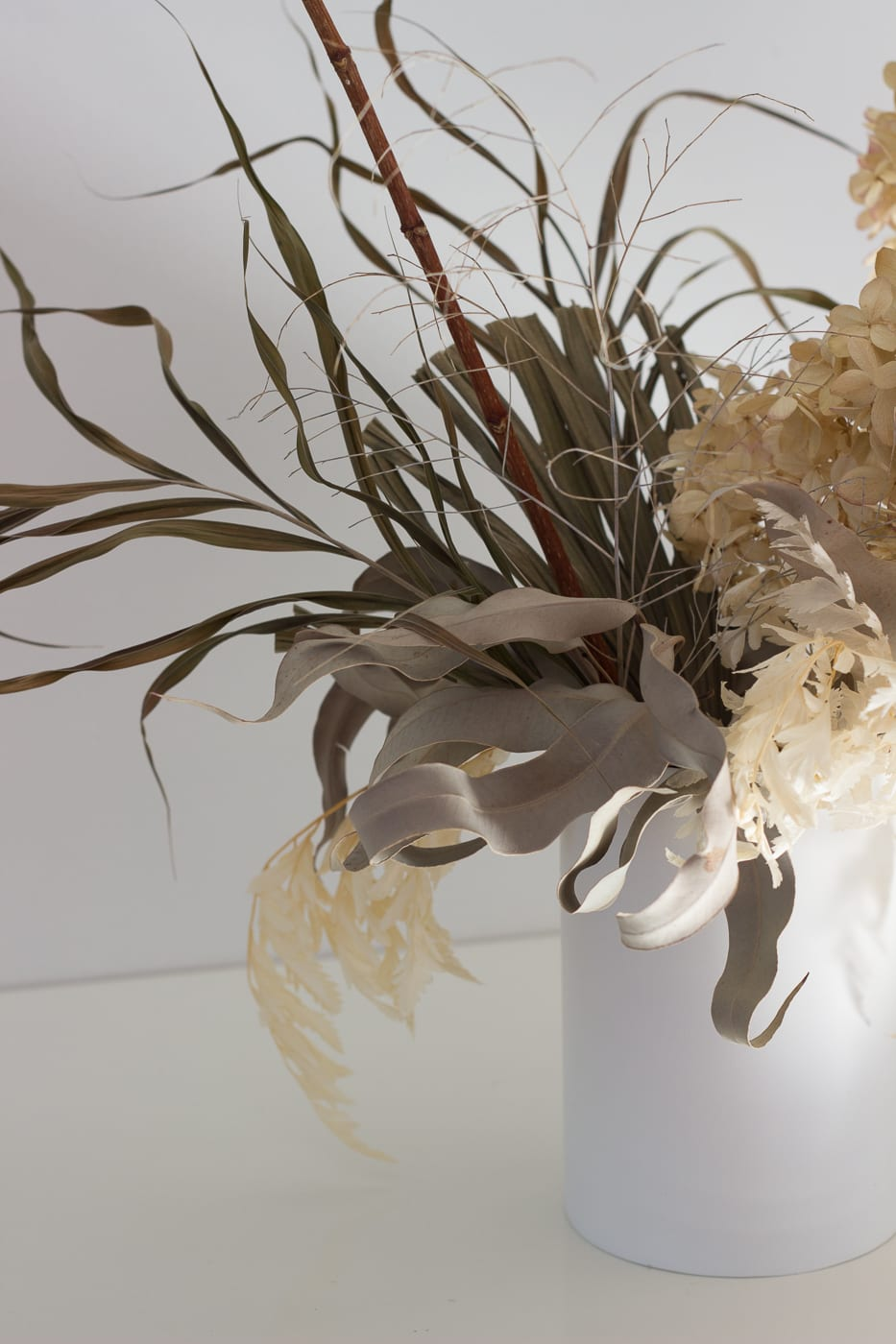 Natural colour medium arrangement in white vase from On My Hand Florals and Styling, Tauranga, Bay of Plenty.