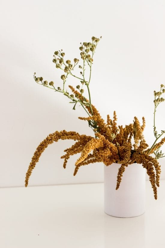 Natural mini arrangement in vase from On My Hand Florals and Styling, Tauranga, Bay of Plenty.