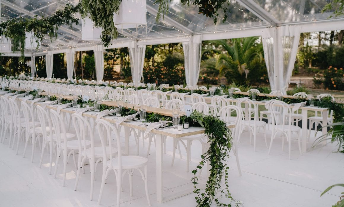 On My Hand Florist for Weddings and Events in Tauranga, Bay of Plenty. Image of styled wedding reception in marquee