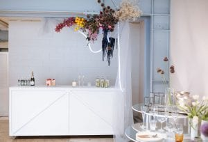 Clean bar set up. On My Hand Assemble Wedding Vendor Event - We collaborated with No Biggie Food, LL Hire, Tble Linen + Royal Laboratorie to create a space that was both inspiring and interactive, simplifying the wedding design process!