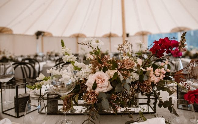 Real Wedding Rachel and Jonny with wedding florals from On My Hand - stunning floral centrepieces for wedding reception.